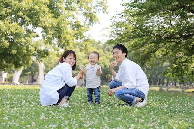 家族写真シャボン玉